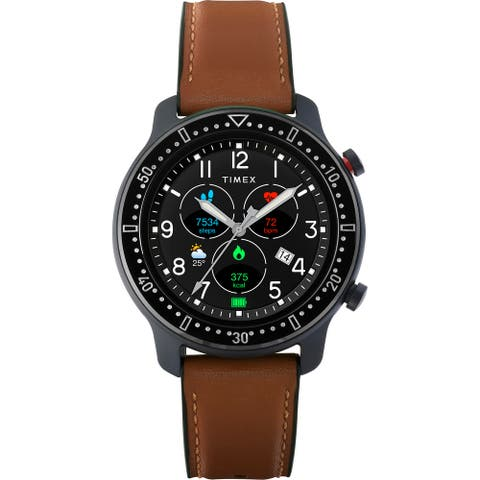 Timex Metropolitan R AMOLED Smartwatch with GPS & Heart Rate 42mm - Black with Brown Leather & Silicone Strap