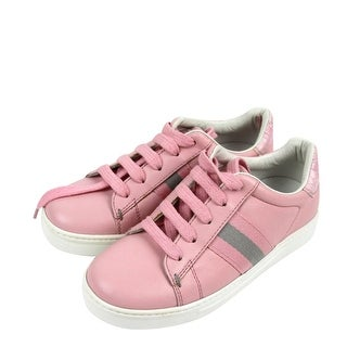 Gucci Kids Pink Leather Trainer Sneaker With Web 257771 (G 29 / US 12) - g 29 / us 12