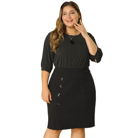 Women's Plus Size Office Work Bodycon Button Midi Pencil Dress - Black