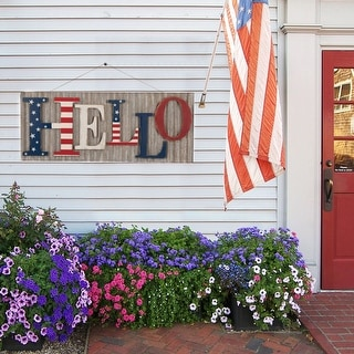 """Link to Glitzhome 36""""L Rustic Metal and Wooden Patriotic Wall Decor Similar Items in Decorative Accessories"""