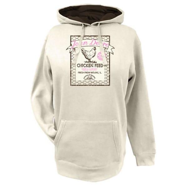 John Deere Western Sweatshirt Women Fleece Logo Hoodie Ivory