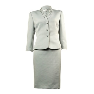 Tahari Women's Embellished Notched Collar Woven Skirt Suit