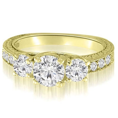1.65 cttw. 14K Yellow Gold Three-Stone Trellis Round Cut Diamond Engagement Ring