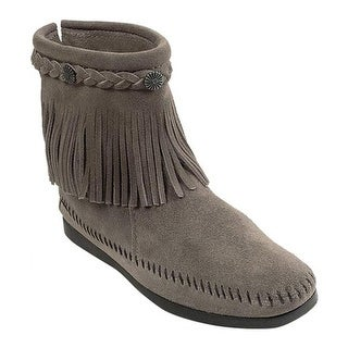Minnetonka Women's Hi Top Back Zip Boot Grey Suede