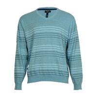 Club Room Men's Multicolor Stripe Cotton Sweater - seafoam teal heather - XxL