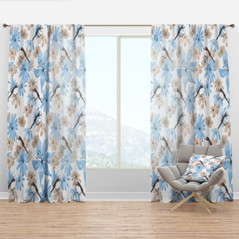 Designart 'Drawing of Blue Flowers with Little Bird' Floral Curtain Panel