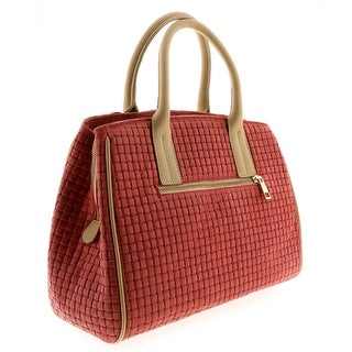 HS2076 CO SASA Coral Red Leather Satchel/Shoulder - Coral Red - 13-10-6