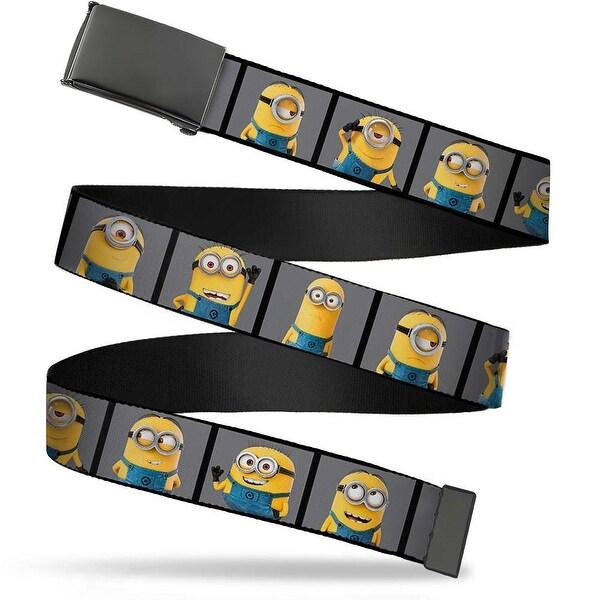 Blank Black Bo Buckle Minions Posing Blocks Gray Webbing Web Belt