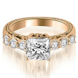 1.25 cttw. 14K Rose Gold Princess and Round Cut Diamond Engagement Ring