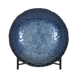 IMAX Home 83285  Honeybee Glass Decorative Plate with Stand by Trisha Yearwood - Blue