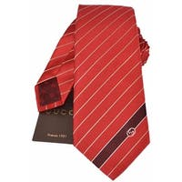 Gucci Men's 408866 Flame Red Woven Silk Interlocking GG Striped Neck Tie