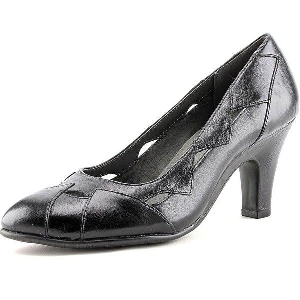Aerosoles In Shape Women Round Toe Leather Black Heels