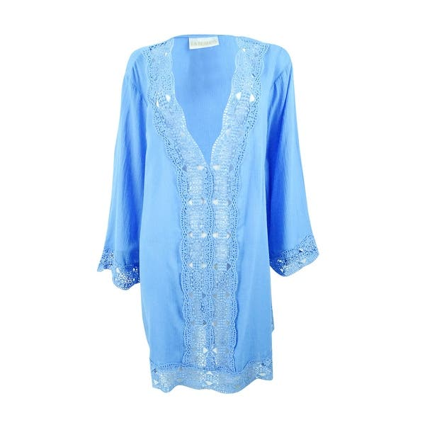 e0fb7b7909 Shop La Blanca Women's Island Fare Cotton Crochet-Trim Tunic Cover ...