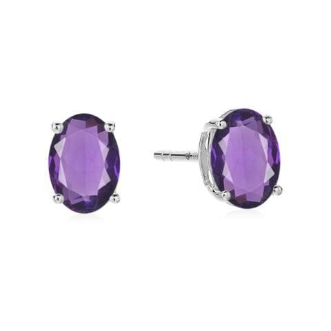 Sterling Silver 8x6 Oval Genuine Gemstone Birthstone Stud Earrings