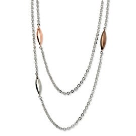 Chisel Stainless Steel Rose Gold, Brown & Steel Ovals 28 Inch Necklace (6 mm) - 28 in