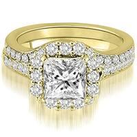 1.17 CT.TW Halo Princess And Round Cut Diamond Bridal Set,HI,SI1-2