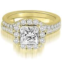 1.42 CT.TW Halo Princess And Round Cut Diamond Bridal Set,HI,SI1-2