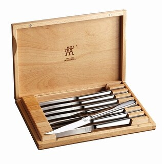 ZWILLING J.A. Henckels 8-pc Stainless Steel Steak Knife Set w/Presentation Case - STAINLESS STEEL