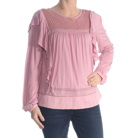 LUCKY BRAND Womens Pink Ruffled Long Sleeve Crew Neck Blouse Top Size: S