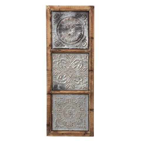 Foreside Home & Garden 15 x 41 inch Rustic Distressed Wood and Metal Wall Décor