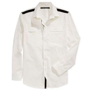 Sean John NEW White Ivory Mens Size Medium M Button Down Contrast Shirt