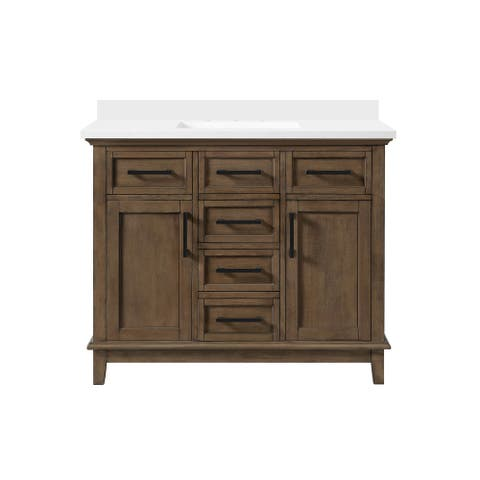 OVE Decors Derry 42 in. Single Sink Vanity Almond Latte Power Bar