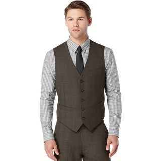 Perry Ellis Vest Dark Brown XX-Large Tonal Plaid Travel Luxe