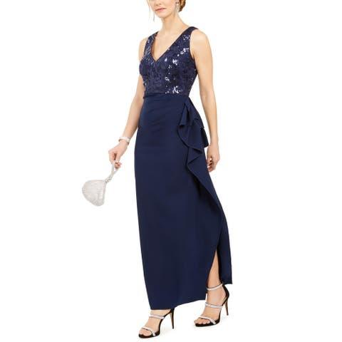 Vince Camuto Womens Formal Dress Lace V Neck - Navy
