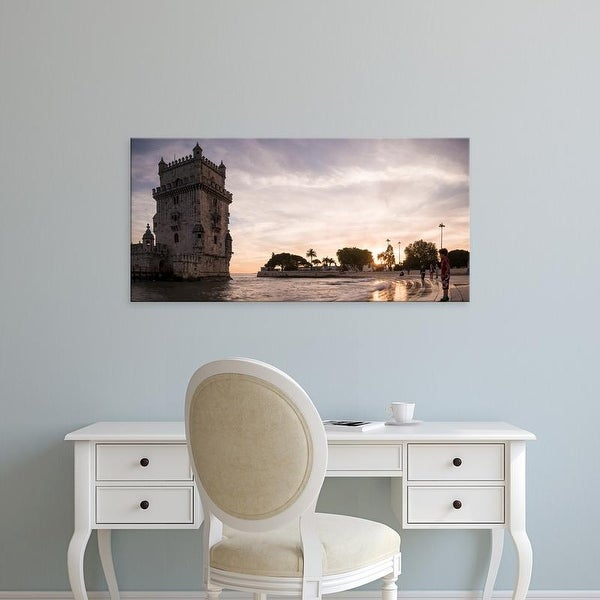 Easy Art Prints Panoramic Images's 'Belem Tower at dusk, Lisbon, Portugal' Premium Canvas Art