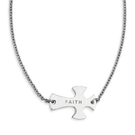 Chisel Stainless Steel Faith Large Sideways Cross Necklace (2 mm) - 19.25 in