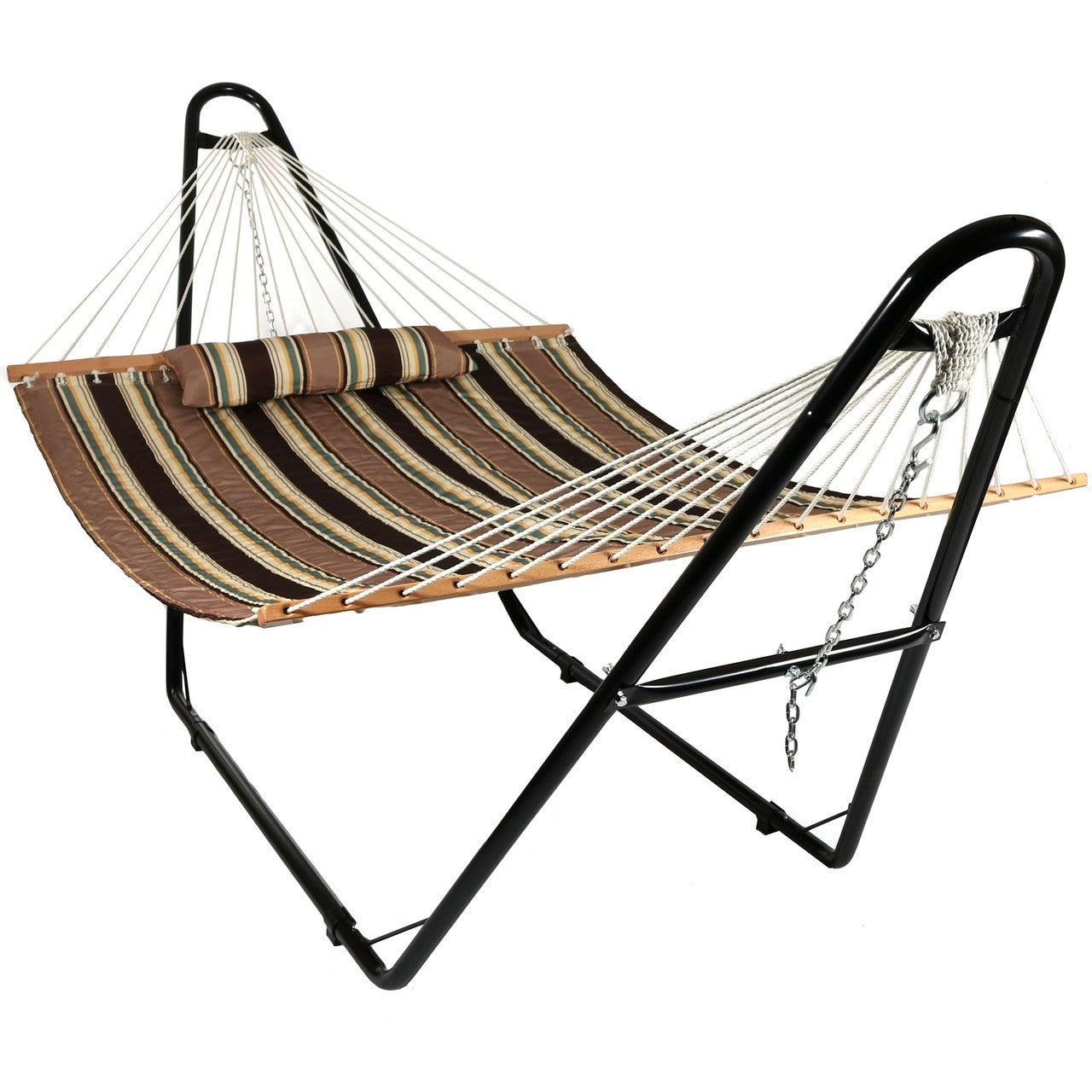 Sunnydaze Quilted Double Fabric 2-Person Hammock with Multi-Use Universal Stand - Thumbnail 13