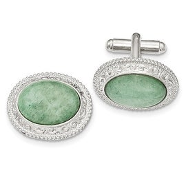 Silvertone Aventurine Filigree Oval Cuff Links