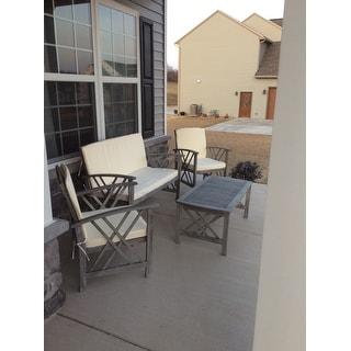 Shop Safavieh Outdoor Living Fontana Grey Wash/ Beige 4 ... on Safavieh Fontana Patio Set id=36255