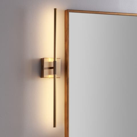 """Makena 28"""" Dimmable Integrated LED Wall Sconce, Gold by JONATHAN Y"""