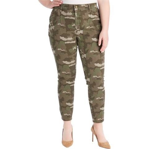 William Rast Womens Camo Casual Cargo Pants, Green, 18W