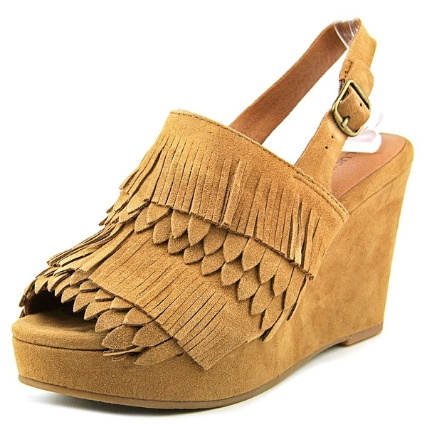 Andre Assous Jeena Women Open Toe Suede Tan Wedge Sandal