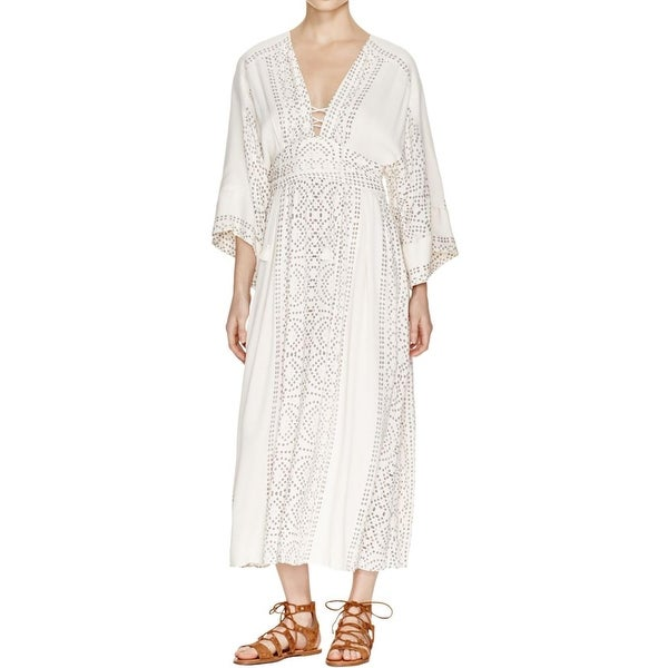 Free People Womens Modern Kimono Casual Dress Printed Lace Up