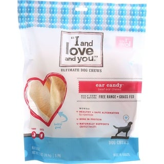 I And Love And You Dog Chews - Ear Candy - Beef Ear - 5 count - case of 6