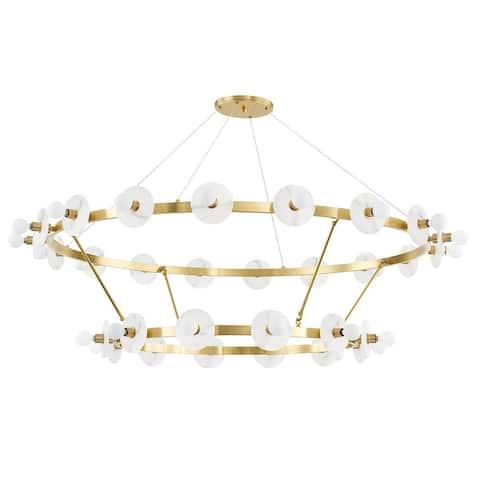 Hudson Valley Austen 30-Light Chandelier with White Spanish Alabaster