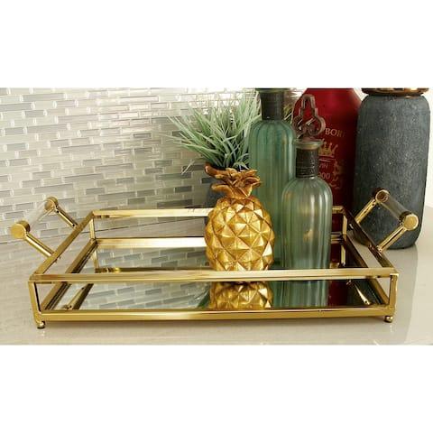 Gold Iron Glam Tray 5 x 22 x 12 - 22 x 12 x 5
