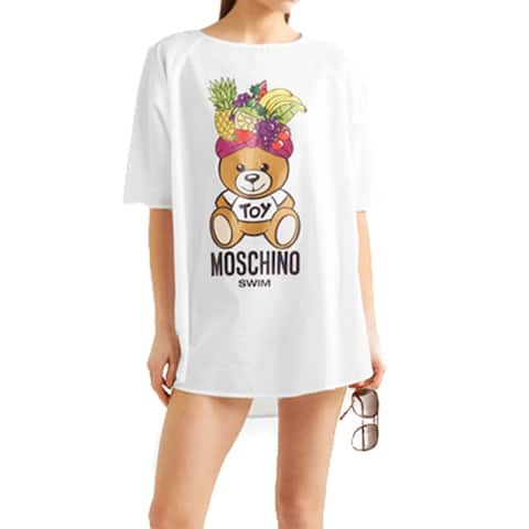 Moschino Women's Cotton Fiesta Bear Cover Up Shirt White