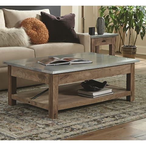 Carbon Loft Blitz Wood and Zinc Metal 48-inch Coffee Table with Shelf