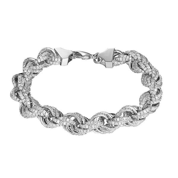 Iced Out Rope Link Bracelet 11mm Iced Out Lab Diamonds Hip Hop Silver Tone