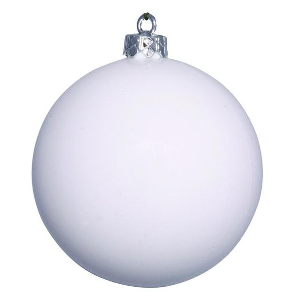 "Shiny White UV Resistant Commercial Drilled Shatterproof Christmas Ball Ornament 2.75"" (70mm)"