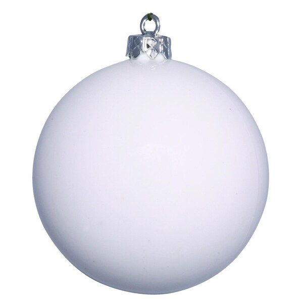 "Shiny White UV Resistant Commercial Drilled Shatterproof Christmas Ball Ornament 8"" (200mm)"