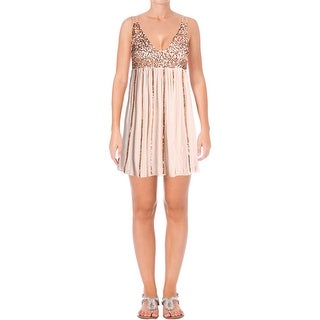 Free People Womens Slip Dress Sequined V-Neck