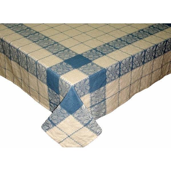 Handmade Floral Plaid Jacquard Tablecloth 100% Cotton - Rectangle Square Round & Towel