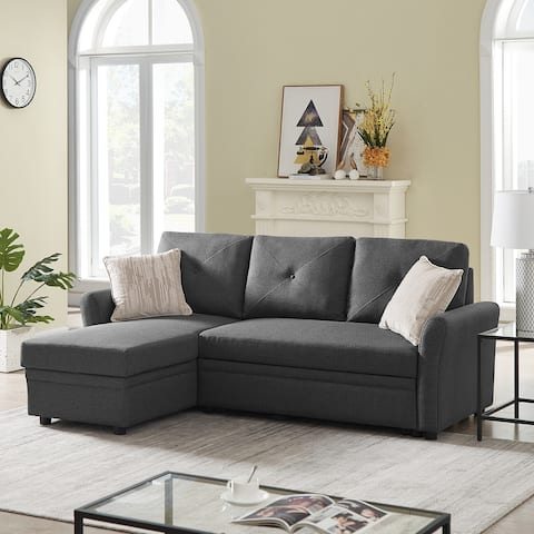 """TiramisuBest 83"""" Convertible Sectional Sofa Couch in 3-Seater"""