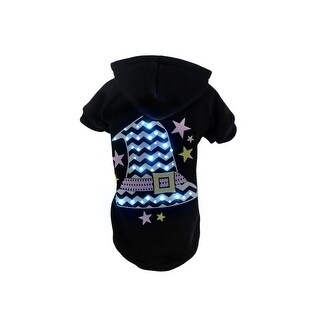 Pet Life LED Lighting Santas Magical Hat Sweater Pet Costume, Black, Medium