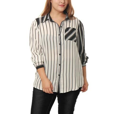 Allegra K Women's Plus Size Mixed Striped Buttoned Sheer Chiffon Loose Shirt - White